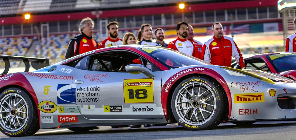 The ems+ Ferrari Challenge team finishes first at Daytona International Speedway